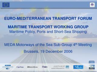 EURO-MEDITERRANEAN TRANSPORT FORUM  MARITIME TRANSPORT WORKING GROUP Maritime Policy, Ports and Short-Sea Shipping