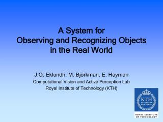 A System for  Observing and Recognizing Objects in the Real World