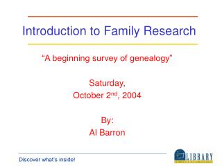 Introduction to Family Research
