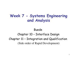 Week 7 - Systems Engineering and Analysis