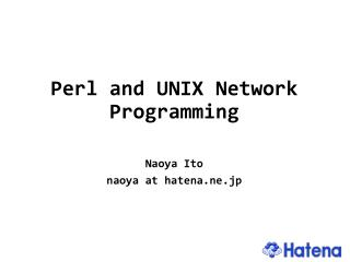 Perl and UNIX Network Programming