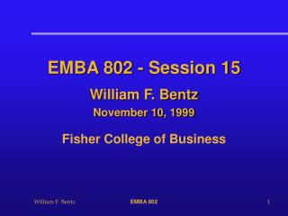EMBA 802 - Session 15