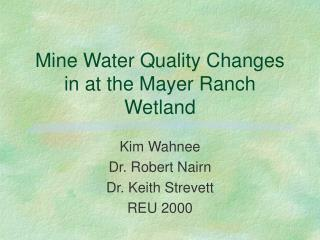 Mine Water Quality Changes in at the Mayer Ranch Wetland