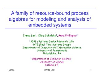 A family of resource-bound process algebras for modeling and analysis of embedded systems