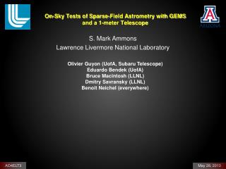 On-Sky Tests of  Sparse-Field Astrometry  with GEMS and a 1-meter Telescope