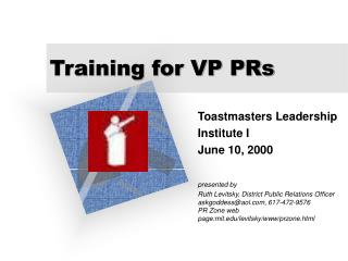 Training for VP PRs