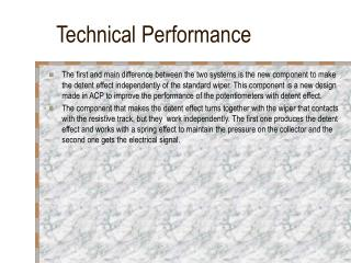 Technical Performance