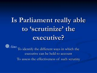Is Parliament really able to  scrutinize  the executive