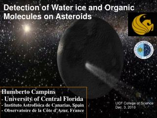 Detection of Water ice and Organic Molecules on Asteroids