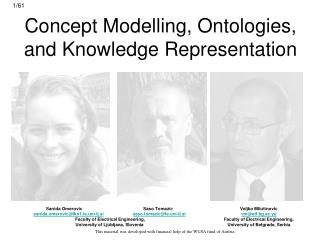 Concept Modelling, Ontologies,  and Knowledge  Representation