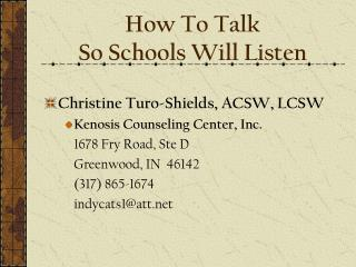 How To Talk  So Schools Will Listen
