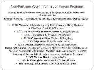 Non-Partisan Voter Information Forum Program