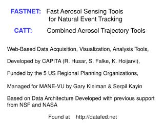 FASTNET:    Fast Aerosol Sensing Tools                   		     for Natural Event Tracking