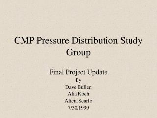 CMP Pressure Distribution Study Group