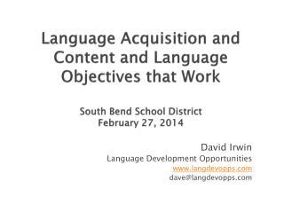 David Irwin Language Development Opportunities langdevopps dave@langdevopps