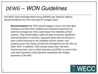 DEWG  – WON Guidelines