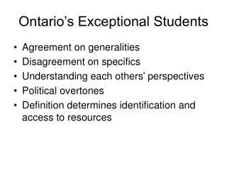 Ontario's Exceptional Students