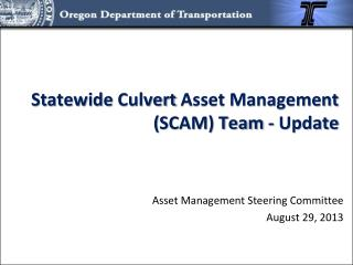 Statewide  Culvert  Asset Management  ( SCAM) Team  - Update