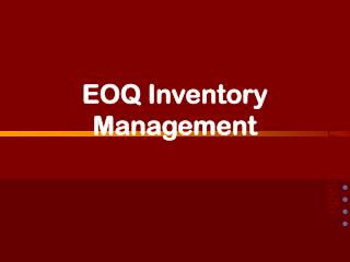 EOQ Inventory Management