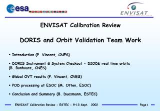 ENVISAT Calibration Review DORIS and Orbit Validation Team Work