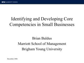 Identifying and Developing Core Competencies in Small Businesses