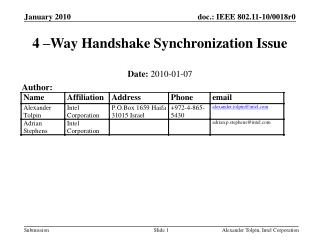 4 –Way Handshake Synchronization Issue