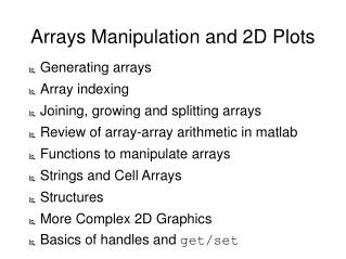 Arrays Manipulation and 2D Plots