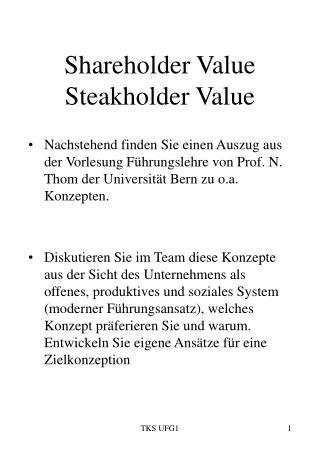 Shareholder Value Steakholder Value