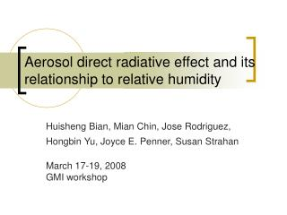 Aerosol direct radiative effect and its relationship to relative humidity