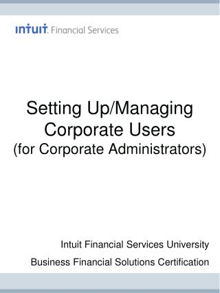 Setting Up/Managing Corporate Users  (for Corporate Administrators)