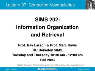 Lecture 07: Controlled Vocabularies