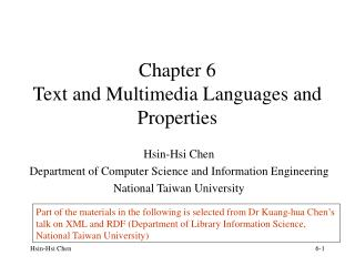 Chapter 6 Text and Multimedia Languages and Properties
