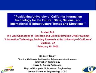 Invited Talk The Vice Chancellor of Research and Chief Information Officer Summit