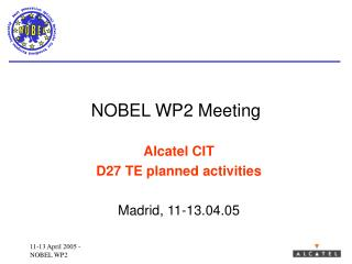NOBEL WP2 Meeting