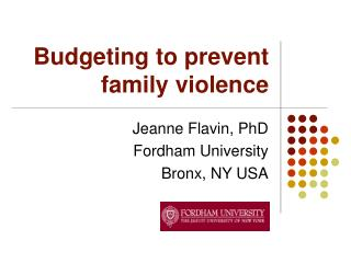 Budgeting to prevent family violence