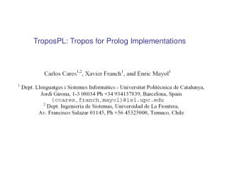 TroposPL: Tropos for Prolog Implementations