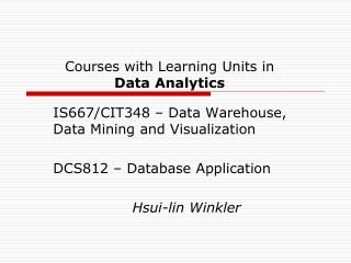 Courses with Learning Units in  Data Analytics