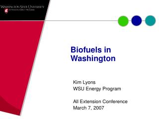 Biofuels in Washington