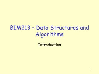 BIM213 – Data Structures and Algorithms