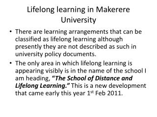 Lifelong learning in Makerere University
