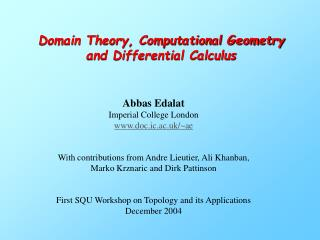 Domain Theory, Computational Geometry and Differential Calculus