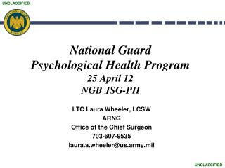 National Guard  Psychological Health Program 25 April 12 NGB JSG-PH