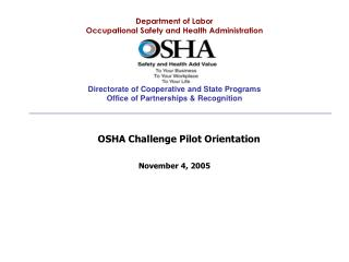 Department of Labor Occupational Safety and Health Administration