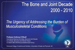 The Urgency of Addressing the Burden of Musculoskeletal Conditions