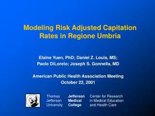 Modeling Risk Adjusted Capitation Rates in Regione Umbria