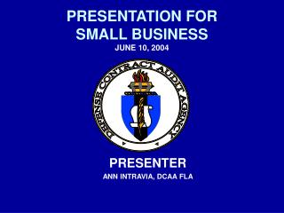 PRESENTATION FOR  SMALL BUSINESS JUNE 10, 2004