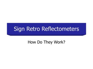 Sign Retro Reflectometers