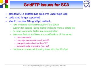 GridFTP issues for SC3
