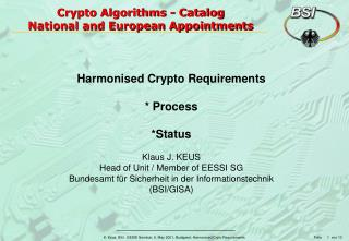 Crypto Algorithms - Catalog  National and European Appointments