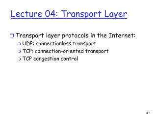 Lecture 04: Transport Layer
